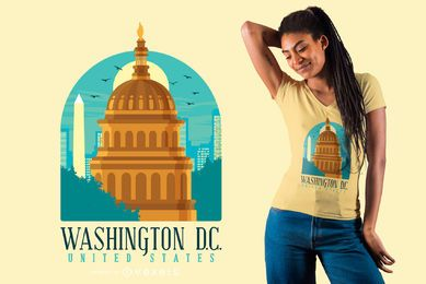 Flacher Washington-Skyline-T-Shirt Entwurf