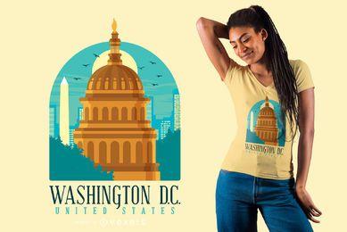 Projeto plano do t-shirt do plano de Washington skyline