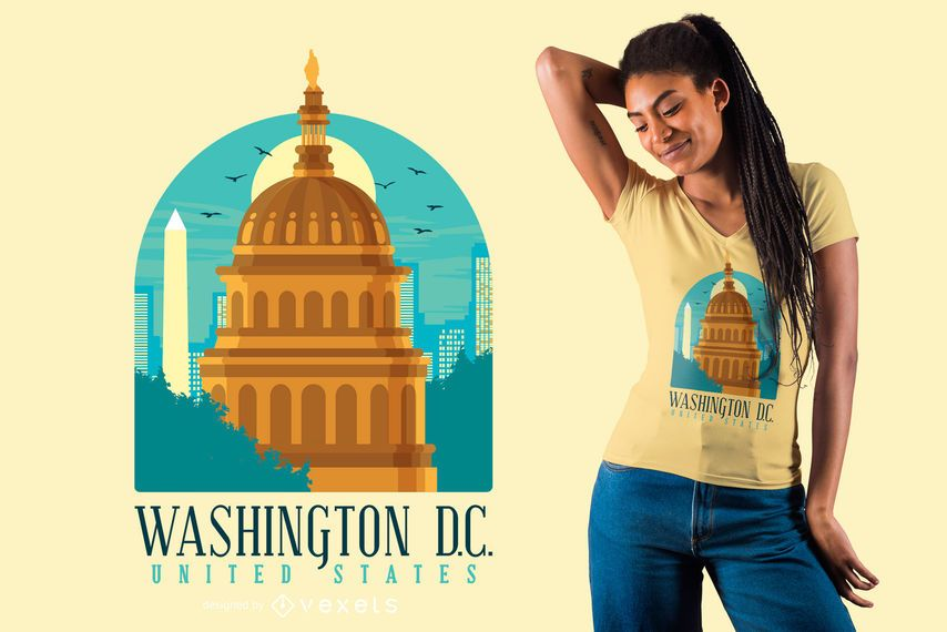 Flat Washington skyline t-shirt design