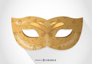 Ilustración de la máscara de carnaval dorado