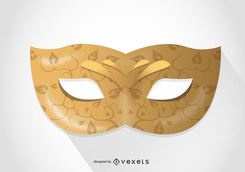 Ilustração de máscara de carnaval dourada