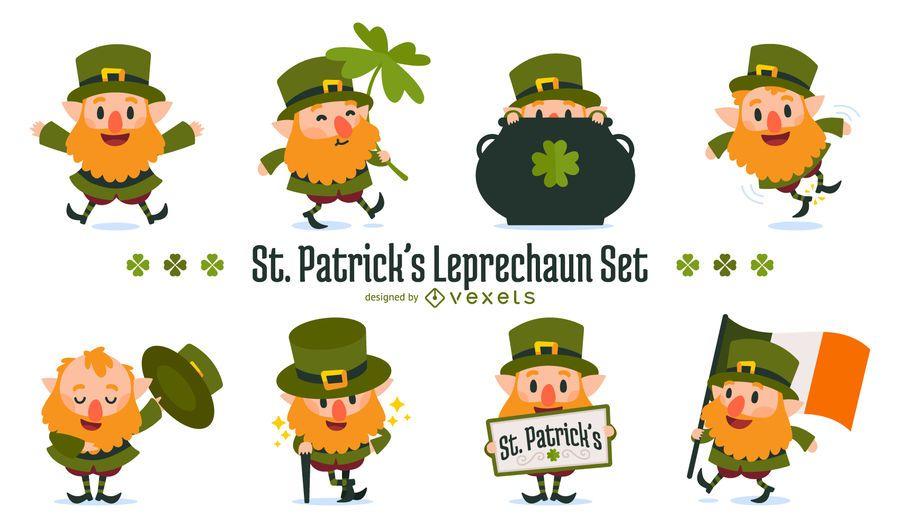 Conjunto de ilustración de leprechaun de San Patricio