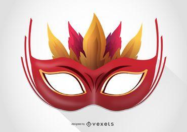Máscara de carnaval com ilustração de penas