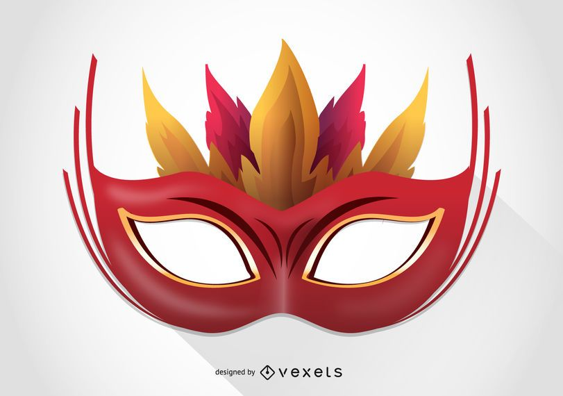 Carnival mask with feather illustration