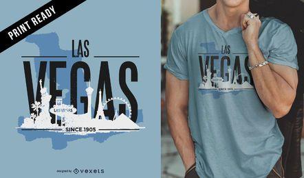 Design de camiseta com o horizonte de Las Vegas