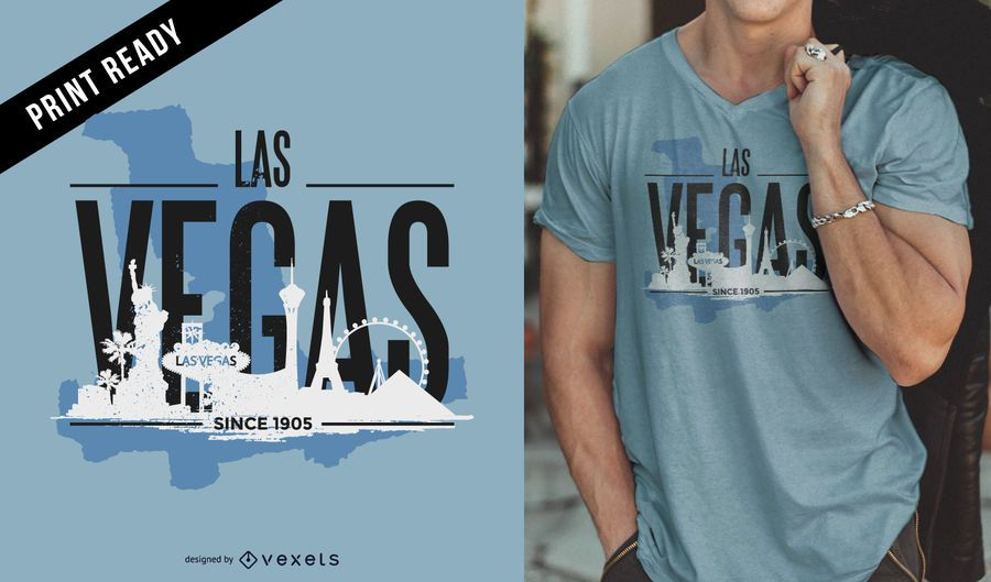 Las Vegas skyline t-shirt design