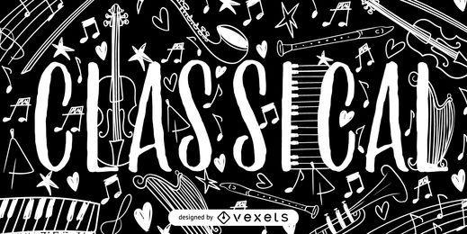Cartaz de rabiscos de música clássica