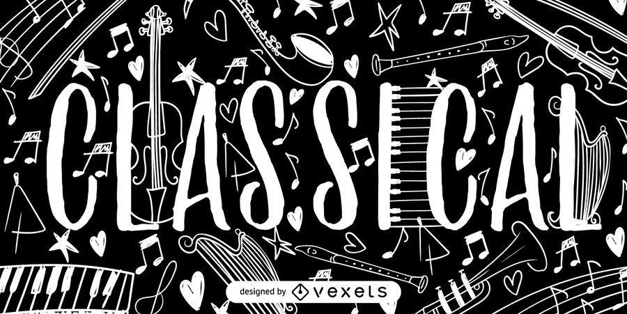 Cartel de doodles de música clásica.