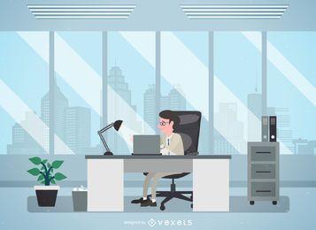 Hombre en oficina ilustración