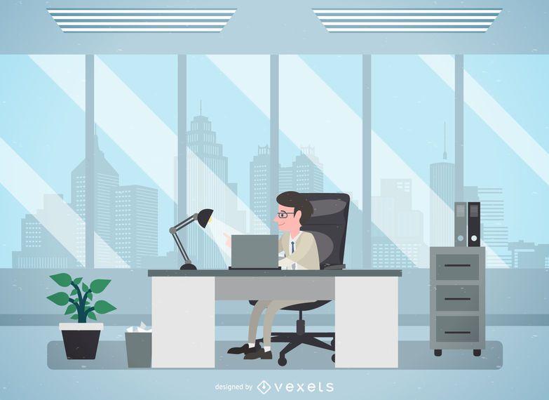 Homem, em, escritório, ilustração