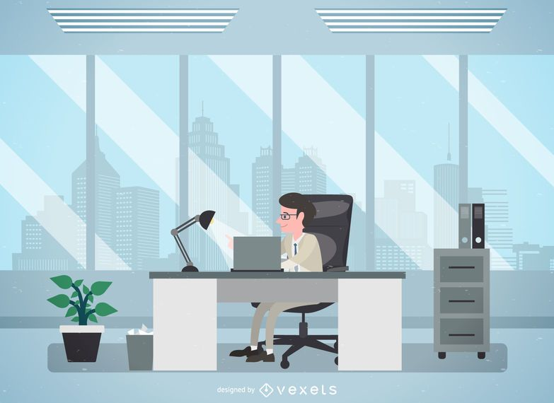 Mann in der Büroillustration