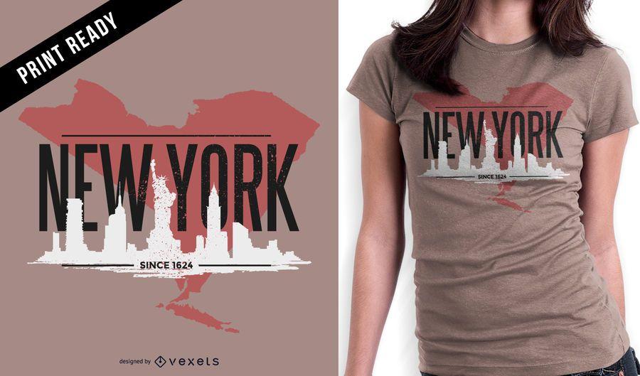Diseño de camiseta rugosa de Nueva York