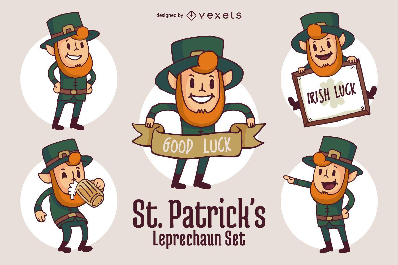 Conjunto de personajes divertidos dibujos animados de St Patrick ...