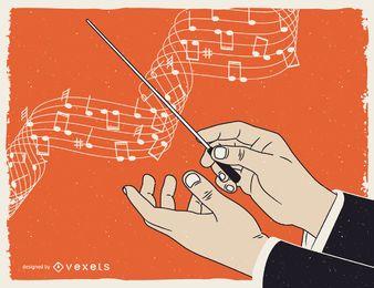 Illustriertes Plakat der klassischen Musik