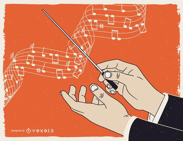 Cartaz de música clássica ilustrado