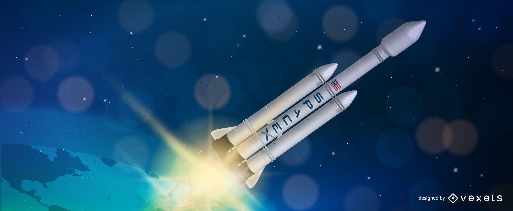 Ilustración de SpaceX Falcon Heavy