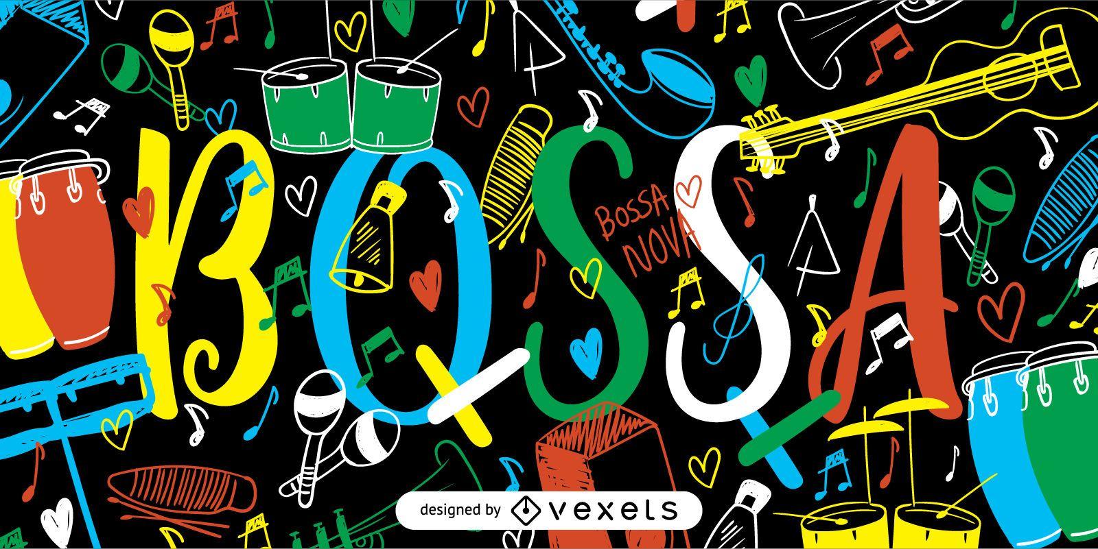 Coloful Bossa Nova poster illustration