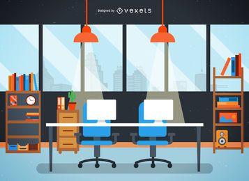 Mesa de escritório plana e ilustração da cidade