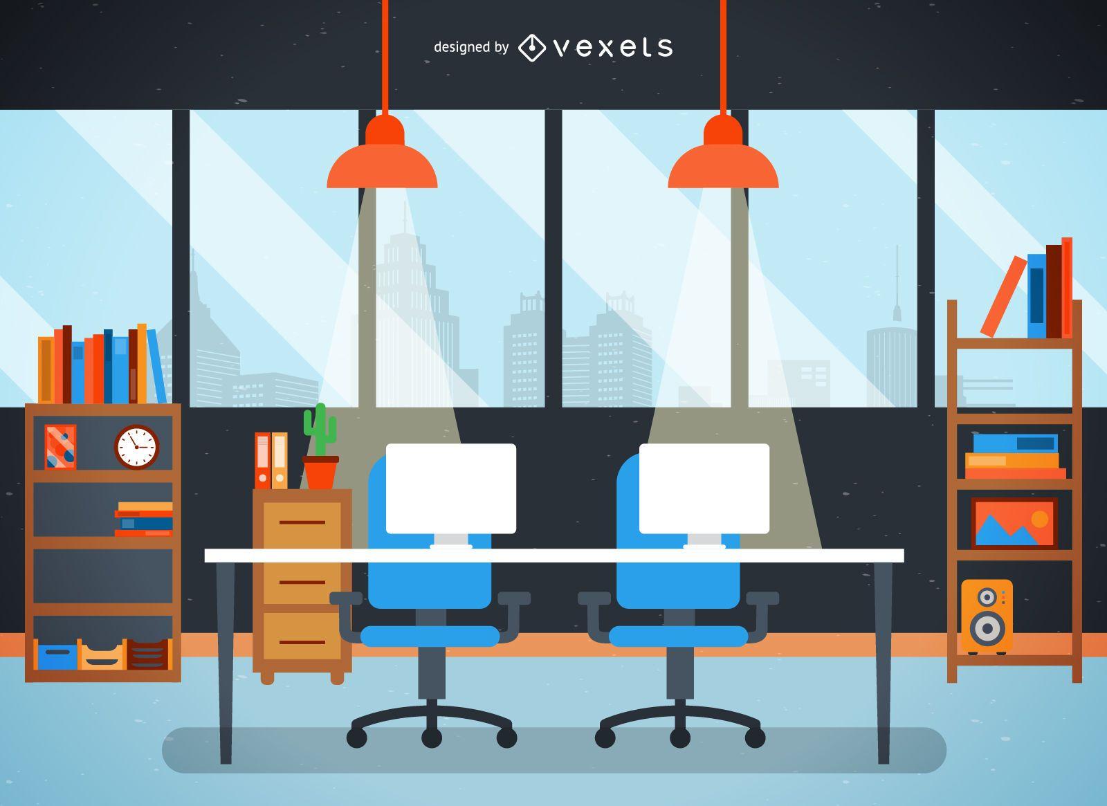 Flat office desk and city illustration