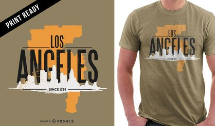 Design acidentado de t-shirt de Los Angeles