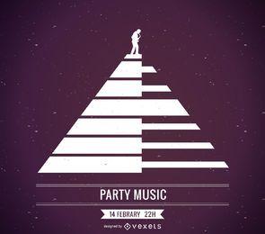 Diseño de cartel de música de piano.