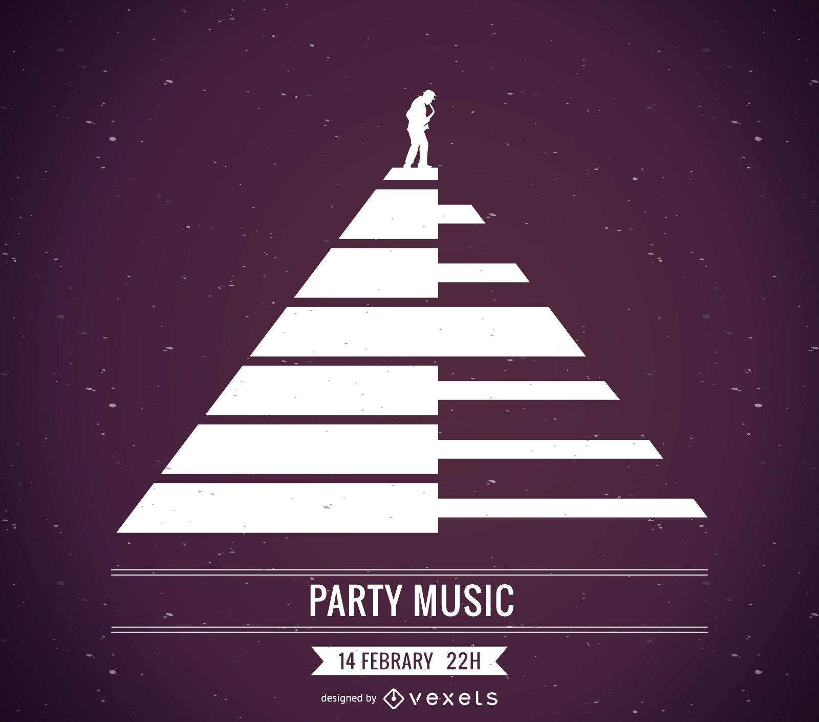 Diseño de carteles de música de piano