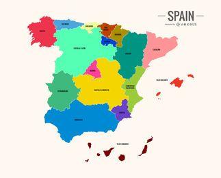 Mapa colorido de Espanha
