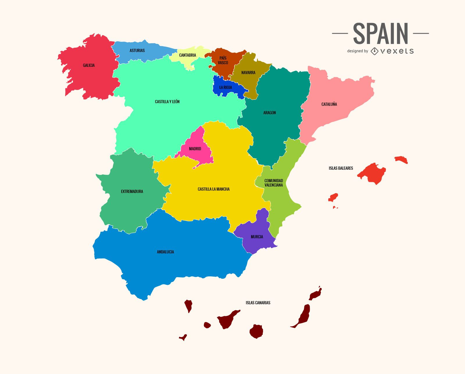 Colorful Spain map Vector download