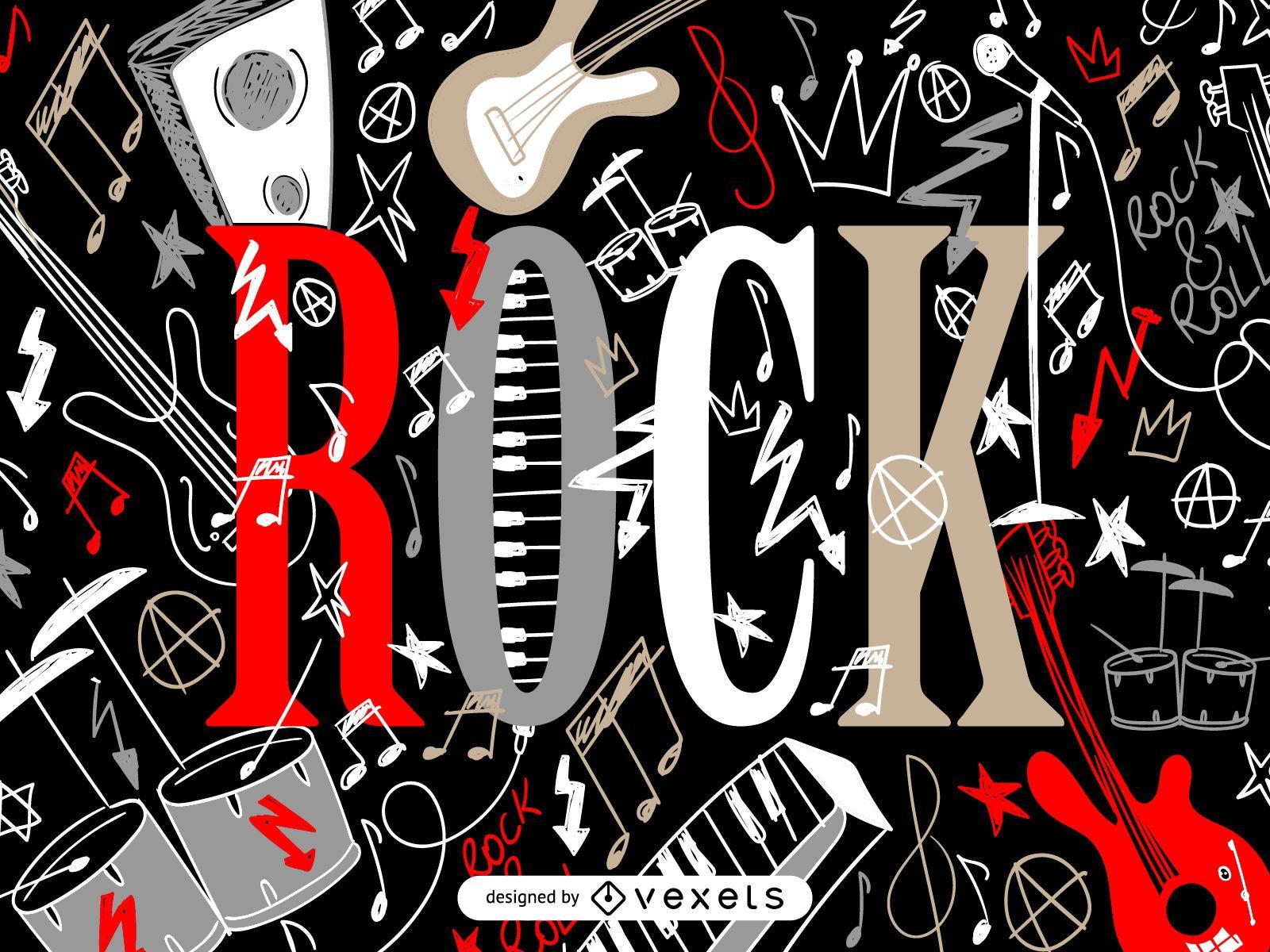 Pôster ilustrado de rock