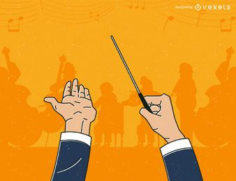 Illustrated orchestra conductor
