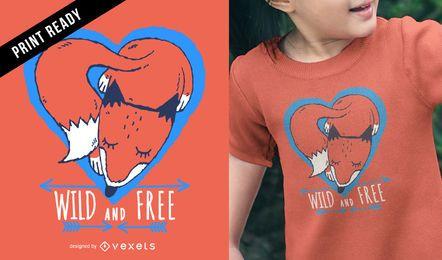 Camiseta ilustrada zorro infantil de diseño.