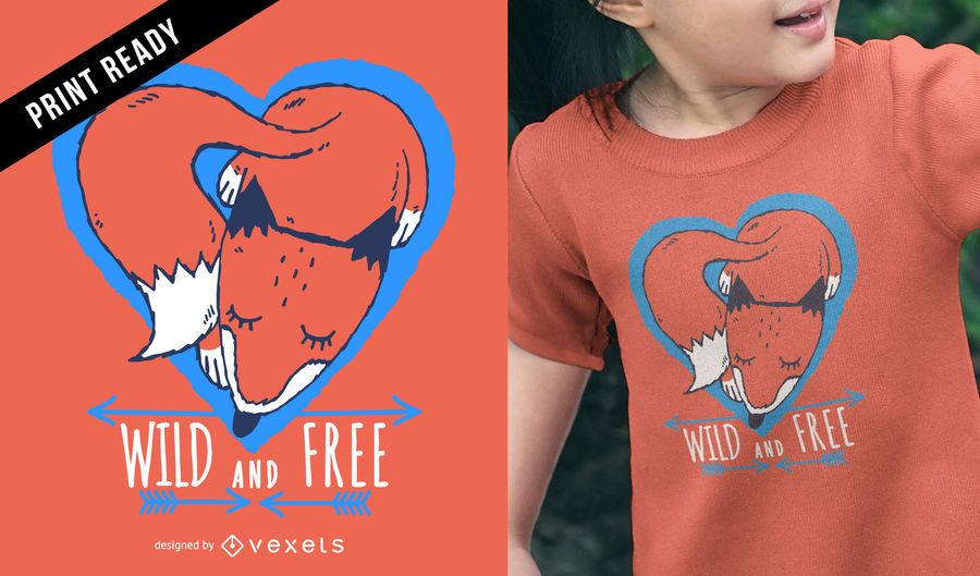 Illustrated fox kid t-shirt design