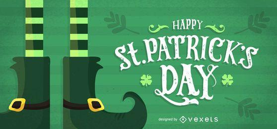 Design de St Patrick com botas de leprechaun