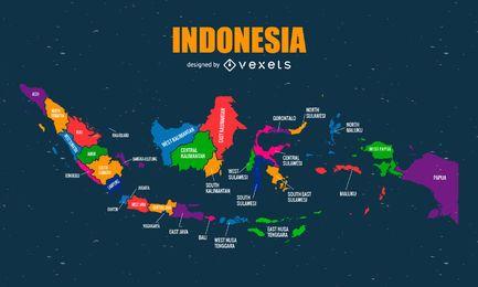 Mapa colorido da Indonésia