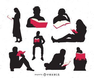 Gente leyendo el conjunto de silueta de libros
