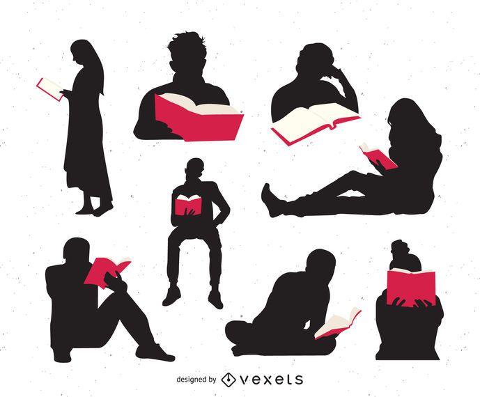 Pessoas lendo livros silhueta conjunto