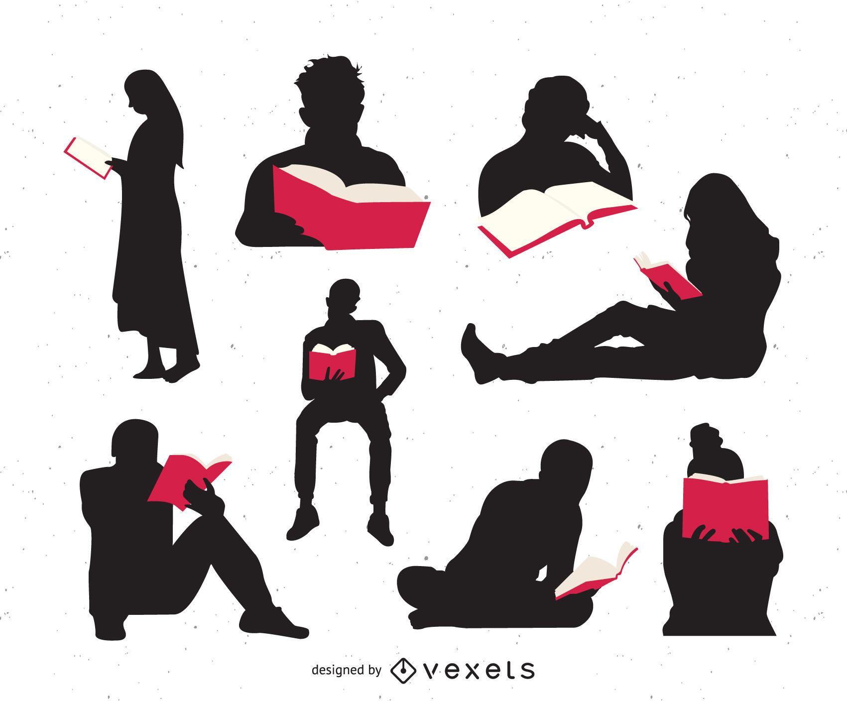 Conjunto de silueta de personas leyendo libros