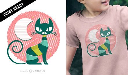 Design de t-shirt para miúdo de gato