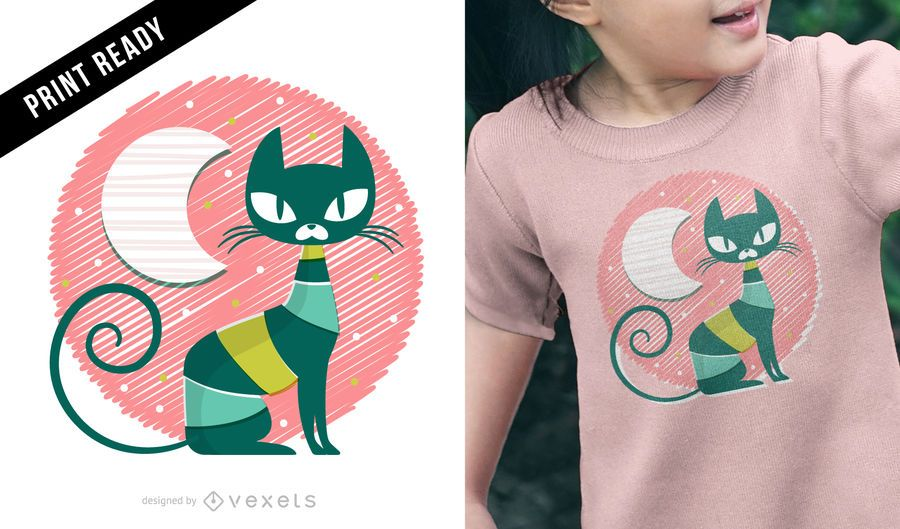 Design de t-shirt de criança de gato