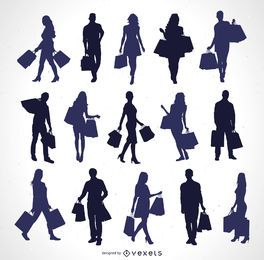 Silhuetas de pessoas com sacolas de compras