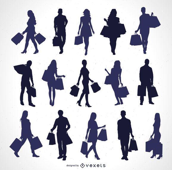 Siluetas de personas con bolsas de la compra.