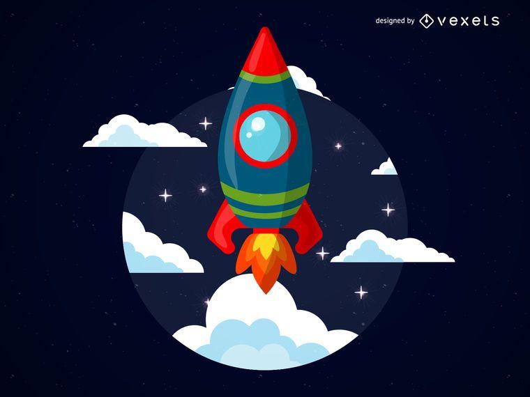 Ilustración de cohete de dibujos animados