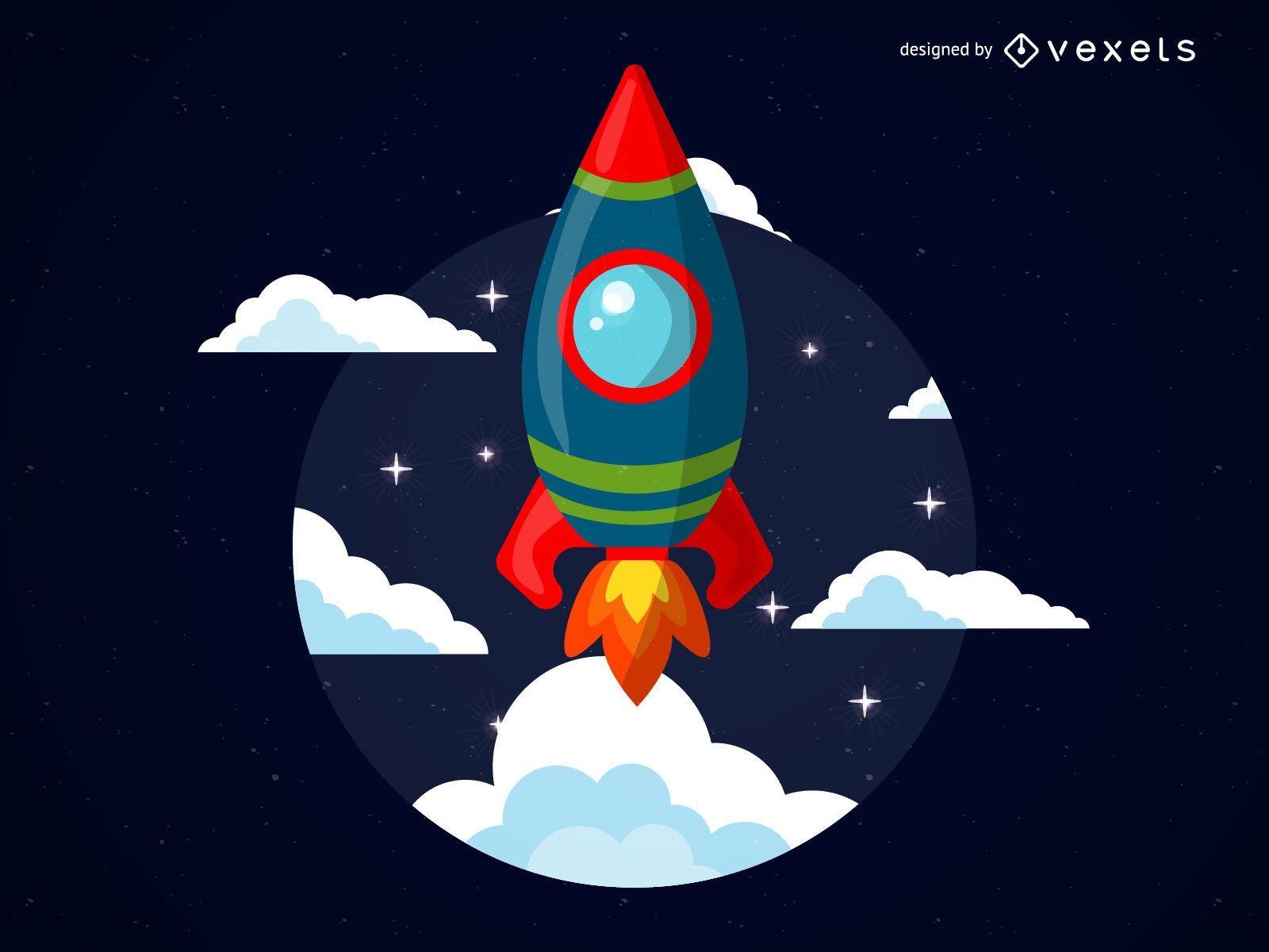 Cartoon rocket illustration