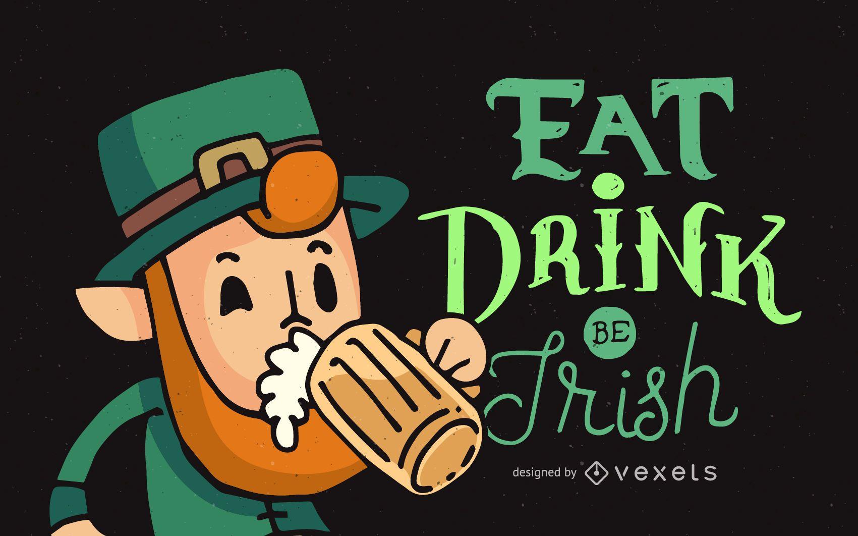 St Patrick's leprechaun with beer
