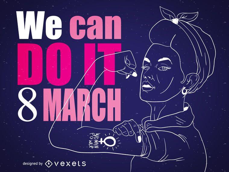 Dia das mulheres Rosie o rebitador ilustração