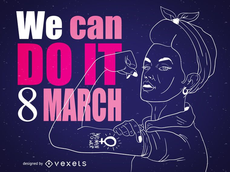 Ilustração do Rosie the Riveter do dia das mulheres