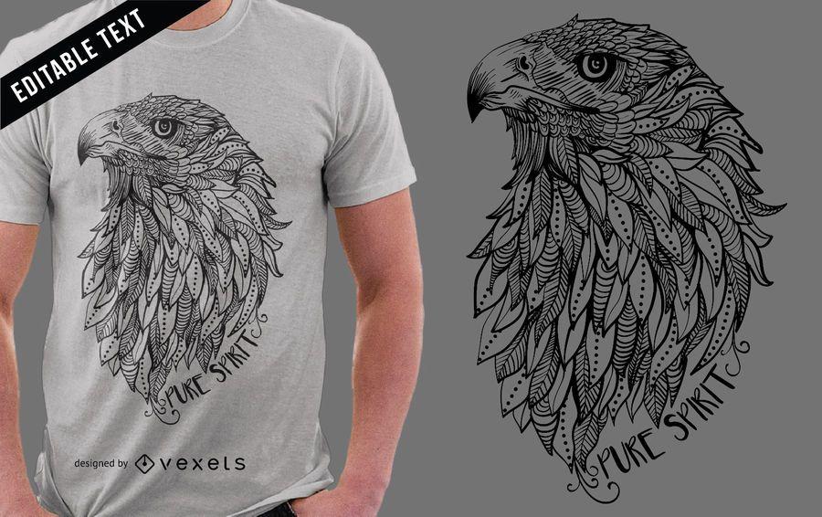 Diseño de camiseta con ilustración de águila.