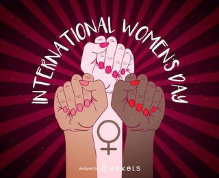 Diseño del cartel del Día Internacional de la Mujer.