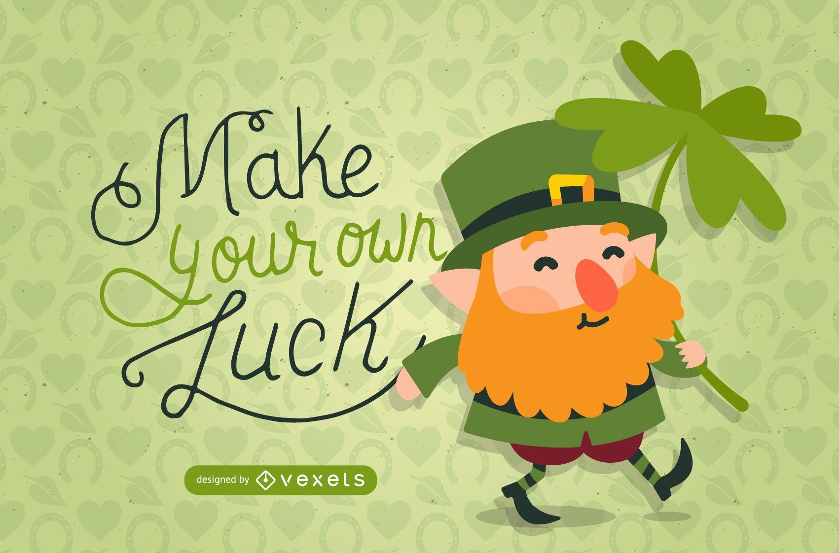 St Patrick's leprechaun with clover illustration
