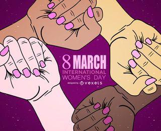 Ilustração internacional das mãos do Dia da Mulher Internacional